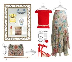 """Red wave"" by sara-cdth ❤ liked on Polyvore featuring Arteriors, House of Sillage, Mignonne Gavigan, Peter Pilotto, Mike + Ally, Jonathan Simkhai, Stila, Versace, Gucci and Garden Trading"