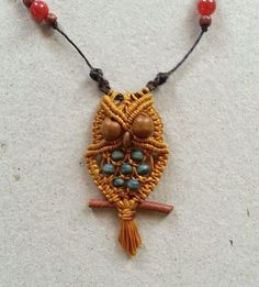 Owl necklace macrame tutorial