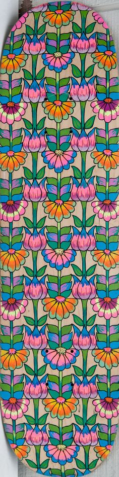 Flower pattern skateboard deck by PsychedelicRed on Etsy