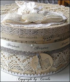 Welcome to Boxwood Cottage: May basket swap & Vintage cushion swap & latest flea market finds Vintage Shabby Chic, Vintage Lace, Vintage Paris, May Baskets, Decoration Shabby, Box Decorations, Vintage Hat Boxes, Vintage Cushions, Pretty Box