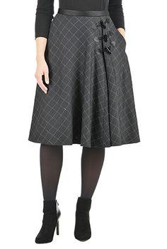I <3 this Herringbone check toggle skirt from eShakti