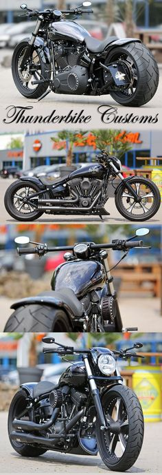 @PunIntendedMag Customized Harley-Davidson Softail Breakout by Thunderbike. http://punintendednews.club For this project we added a long list of our custom parts like the Lowrider wheels, rear-fender Kit, Air-Ride suspension, custom tank, forward controls and much more.: