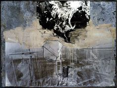 Anselm Kiefer, Melancholia (1988) Ashes of photos on lead in a glass frame in steel 170x230cm. Hara Museum of Art, Japan