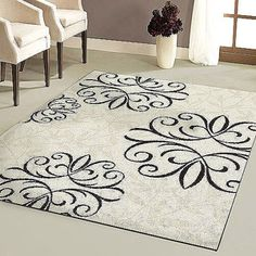 Orian Iron Fleur Area Rug--with all my wrought iron  . .yes!!  i love this!!
