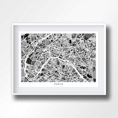 PARIS MAP black and white, map of paris, paris printable, paris poster, france prints, paris gifts, birthday, street map, city art, 1126 by CoolPage on Etsy