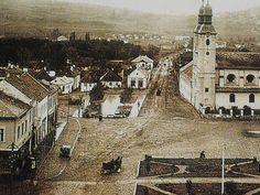 """1920-as évek: a Szombatfalva (csatolva:1895-ben!) felé vezető """"Új út"""" 1915-ben volt megnyitva a forgalomnak! Barátok temploma: épült 1728-79, a """"barokk városmag"""" legrégibb temploma!!! A templom előtt: a """"cementezett"""" Új Piac. Paris Skyline, Travel, Viajes, Destinations, Traveling, Trips"""