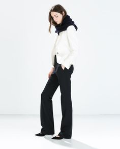 FABRIC BLAZER from Zara with high waisted skirt and scarf