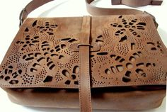 Leather hand punched messenger bag by Torbynka on Etsy