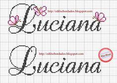 Edilse Bordados: Nomes em ponto cruz! Cross Stitch Letters, Cross Stitching, Stitch Patterns, Needlework, Bullet Journal, Lettering, Lana, Youtube, Angel