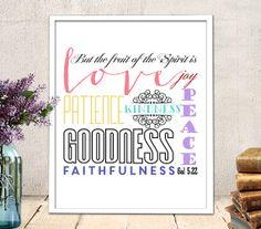 Bible Verse Printable Art, scripture art, Gal 5:22 bible verse, bible verse inspirational quote, nursery printable, INSTANT DOWNLOAD