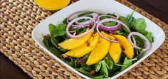 mango and spinach salad with green onion & lime dressing
