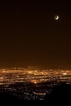 The city of Tucson, AZ in lights; taken from the Santa Catalina Mountains.