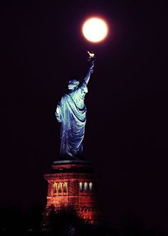 Hanging the Moon ~ The Statue of Liberty National Monument, Ellis Island and Liberty Island is on Liberty island at the mouth of the Hudson River in New York Harbor, New York, New York Look At The Moon, Over The Moon, Stars And Moon, Night Sky Moon, Good Night Moon, Night Time, Luna Moon, Shoot The Moon, Beyond The Sea