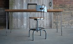 """modern rustic Reclaimed """"old growth"""" wood desk with steel hairpin legs 24"""" x 36"""" x 30"""" tall (wood is 100-150 years old)."""