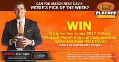 Want a chance to win weekly prizes, plus a trip for four to the 2017 College Football Playoff National Championship Game? Make your pick in the REESE'S Pick of the Week Sweepstakes at: