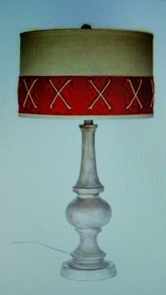 Rope Nautical Lamp with Red Linen Shade Office Man Cave Women Home Decor #Nautical