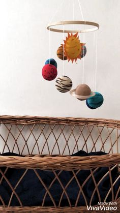 Space baby mobile with Sun and planets Solar system mobile Solar System Mobile, Solar System Crafts, Build A Solar System, Solar System Projects For Kids, Baby Boy Nursery Decor, Baby Room Diy, Baby Mobile, Felt Mobile, Baby Crafts