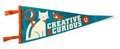 SUPER ADORABLE KITTY x CREATIVITY PENNANT. Sorry, caps 'cause I was excited. by The People  s Pennant & UPPERCASE studio.