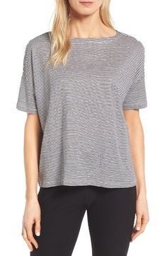 Free shipping and returns on Eileen Fisher Stripe Boxy Organic Linen Top (Regular & Petite) at Nordstrom.com. A bateau-neck top with drop-shoulder slouch is perfect for spring and summer in a casual yet sophisticated knit of feel-good organic linen.