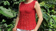 Crochet red azalea stitch summer top ~ a lace blouse with some modesty designed into it :)