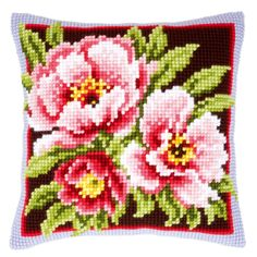 Vervaco Pink Flowers Chunky Cushion Cross Stitch Kit PN-0144348