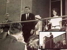 1963. 21 Novembre. President John F. Kennedy (center) stands with his wife Jackie Kennedy (right) at Brooks AFB in San Antonio the day before he was assassinated in Dallas. The inset (bottom right) shows the podium or lectern he used that day. The lectern and some other related items have been donated to the Witte Museum Thursday, May 12, 2011.