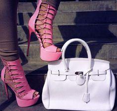 Fashion pink high #heel #shoes