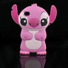 New Cute Pink 3D Stitch Hard Case with Movable Ears w/ 1 Bonus Screen Protector for I-Phone 4G/4S