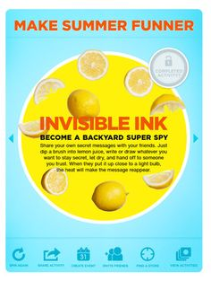 Lemon juice as natural invisible ink. You will need this for secret messages.