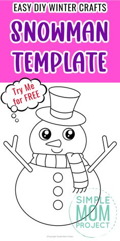 Do your kids love building a snowman? Well here's a cute and free printable snowman template which is perfect for winter crafts or preschool art projects. The large snowman template makes a wonderful coloring page and is suitable for kids of all ages - from little kids to big kids. You can even turn it into a fun greeting card to warm someone's heart. Preschool Art Projects, Projects For Kids, Printable Crafts, Free Printables, Snowman Outline, Snowman Cartoon, Snowman Coloring Pages, How To Make Scarf, Frosty The Snowmen