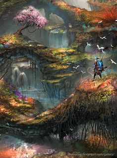 paintings video games landscapes multicolor forest weapons illustrations fantasy art sans digital ar Wallpaper