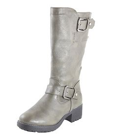 Take a look at this Gray Buckle Boot by Anna Shoes on #zulily today!