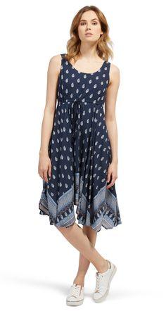 gemustertes Kleid mit Bindeband für Frauen (gemustert, ärmellos mit  Rundhalsausschnitt) - TOM TAILOR