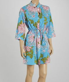 Look what I found on #zulily! Turquoise & Pink Floral Button-Up Cover-Up - Women & Plus #zulilyfinds