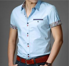 New 2014 Italian Dress shirts Men's Blouses Short-sleeve Casual Shirt Slim Fit Chemise Homme Free Shipping
