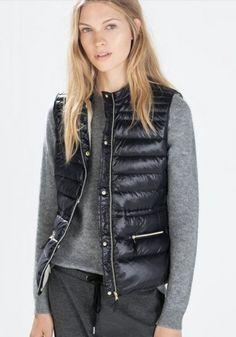 Black Plain Zipper Down Vest