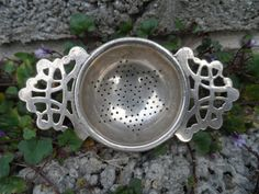 Antique tea strainer art nouveau silver plated by EmpireAntiques