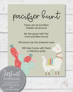 Printable Pacifier Hunt Baby Shower Game Sign - Llama Boho Cactus Theme -​ - Print It Baby Free Baby Shower Printables, Baby Shower Activities, Baby Shower Games, Printable Party, Baby Shower Candy, Boho Baby Shower, Baby Showers, Shower Tips, Shower Ideas