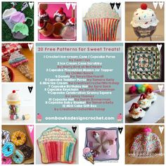 20 Free Patterns for Sweet Treats! http://oombawkadesigncrochet.com/2016/07/20-free-patterns-for-sweet-treats.html