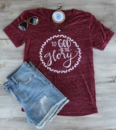 """To God Be The Glory"" Maroon Marble V-Neck"