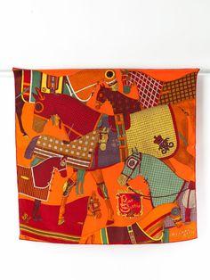 "Hermes Paris POUR SORTIR 25"" Silk Scarf in Box Orange Equestrian #Hermes #Scarf"