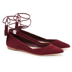 Loeffler Randall Penelope Red Suede Tassel Tie Flats found on Polyvore featuring shoes, flats, red, red flats, suede shoes, loeffler randall flats, wrap around shoes and flat pumps