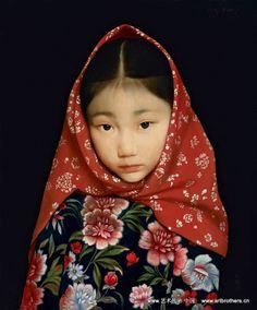 Beautiful realism portrait painting of young Asian girl by Wang Yidong. Precious Children, Beautiful Children, Beautiful People, Little People, People Around The World, World Cultures, Cute Kids, Asian Beauty, Women