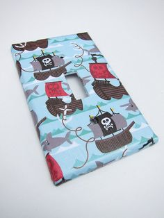 Blue Pirate Ship Light Switch Plate Cover by HopeCreative on Etsy, $10.00