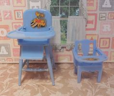 Renwal HIGH CHAIR & POTTY CHAIR SET Vintage Tin Dollhouse Furniture Plastic 1:16 #Renwal