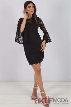 c993fa51590ca 2019 Yarım Kol Abiye Modelleri. Siyah Yarım Kollu Abiye Elbise. Aktifmoda