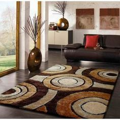 Orren Ellis Orrstown Shaggy Hand-Tufted Brown Area Rug Rug Size: Rectangle x Image Peppa Pig, Thing 1, Round Design, Brown Rug, Brown Beige, Black Rug, Modern Room, Online Home Decor Stores, Cool Rugs