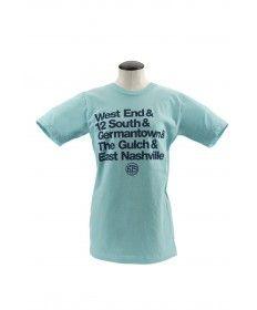 From local company with a cause Project615 is this light aqua tee featuring the names of Music City's most prominent neighborhoods. Supersoft 100% cotton tee is made in the USA and printed in Nashville.