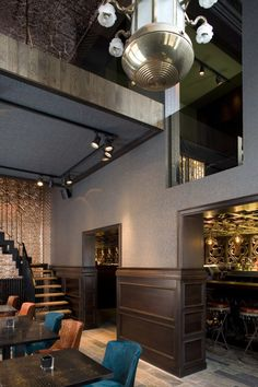 Too Many Agencies - The Glorious << Interior Design - Restaurant - Bar - Ethnic - Counter - Coffer decorative ceiling - Leather tables - Bar stool - Lighting - Blue wallpaper - Copper ceiling and wall >>