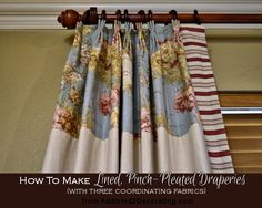 Wonderful clear illustrated instructions for making pinch pleated draperies. Thank you again to Kristi at Addicted 2 Decorating. DIY: Pinch-Pleated, Lined Draperies With Two Accent Fabrics Pinch Pleat Curtains, No Sew Curtains, Pleated Curtains, How To Make Curtains, Lined Curtains, Valance, French Pleat, Custom Drapes, Coordinating Fabrics